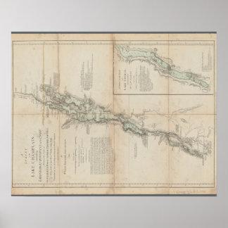 Lago Champlain e mapa 1762 histórico de George do Póster