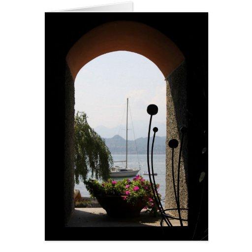 Lago Como através de uma janela Cartão
