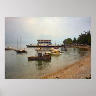 Lago Como balsa de carro a Belaggio Impressão