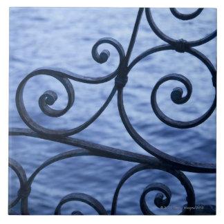 Lago Como, detalhe, vista de trilhos do ferro da p Azulejo Quadrado Grande