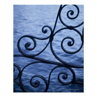Lago Como, detalhe, vista de trilhos do ferro da p Poster