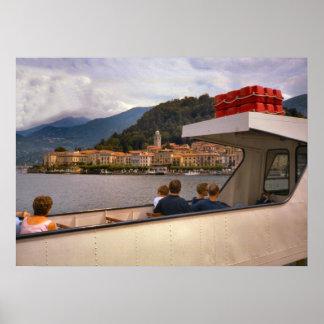 Lago Como, na balsa a Bellaggio Impressão