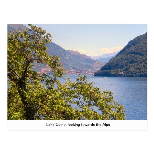 Lago Como, olhando para os cumes Cartoes Postais