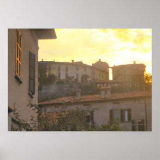 Lago Como por do sol em Menaggio Posters