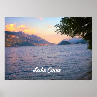 Lago Como por do sol sobre o lago Como Pôsteres