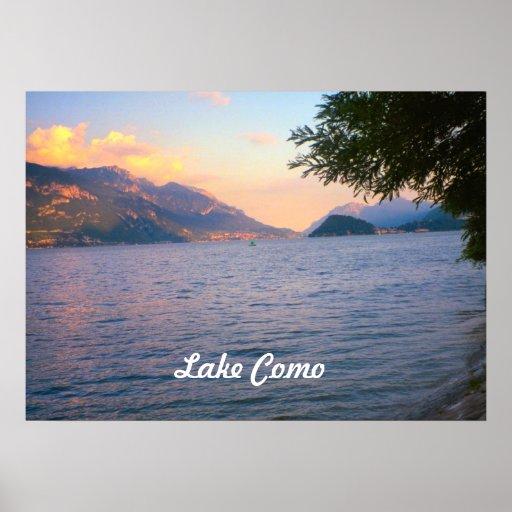 Lago Como, por do sol sobre o lago Como Pôsteres
