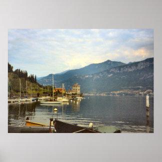 Lago Como porto pelo lago Impressão
