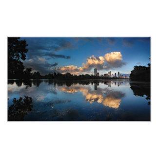Lago do centro ladybird do por do sol da skyline impressão fotográficas