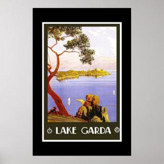 Lago retro Garda travel da imagem do vintage do im Poster