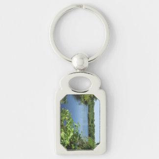 Lagoa de água fresca da ilha de bloco chaveiro retangular cor prata