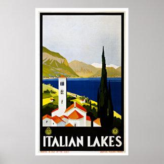Lagos italianos Italia vintage Travel Poster