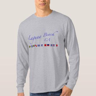 Laguna Beach CA - soletração marítima da bandeira Camiseta