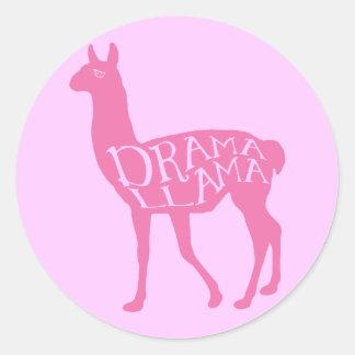 Lama cor-de-rosa do drama adesivos em formato redondos