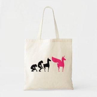 Lama cor-de-rosa do unicórnio da evolução com saco sacola tote budget