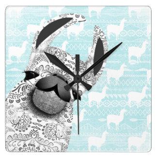 Lama de Moma com teste padrão branco da nuvem do Relógio Quadrado