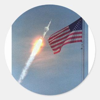 Lançamento de Apollo 11, com bandeira, NASA Adesivo