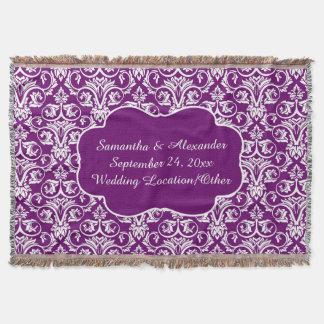 Lance roxo personalizado do casamento tema coberta