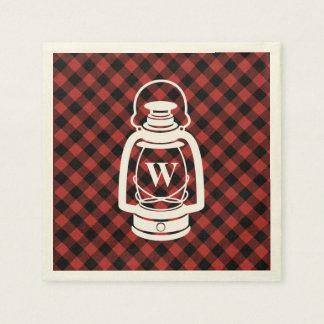 Lanterna do monograma da xadrez do búfalo guardanapo de papel