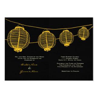 Lanternas amarelas e pretas que Wedding o convite Convite 12.7 X 17.78cm