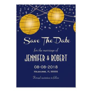 Lanternas festivas com amarelo azul escuro & convite 12.7 x 17.78cm