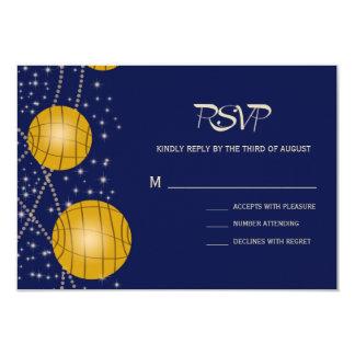 Lanternas festivas com amarelo azul escuro & convite 8.89 x 12.7cm