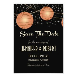 Lanternas festivas com preto Pastel & abricó Convite