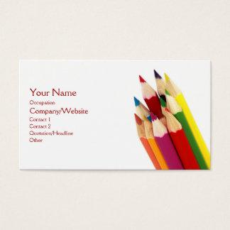 Lápis coloridos cartão de visita