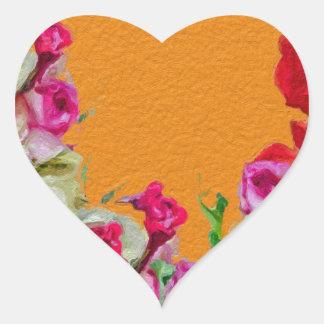 Laranja abstrata floral bonita adesivo coração