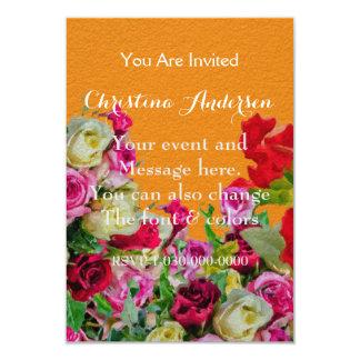 Laranja abstrata floral bonita convite 8.89 x 12.7cm