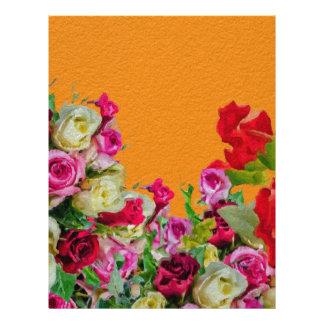 Laranja abstrata floral bonita papel timbrado