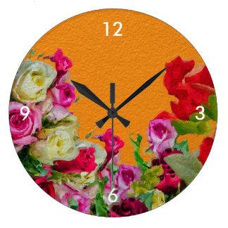 Laranja abstrata floral bonita relógios para paredes