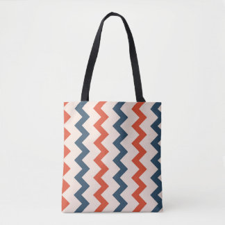 Laranja azul escuro do design do ziguezague de bolsas tote