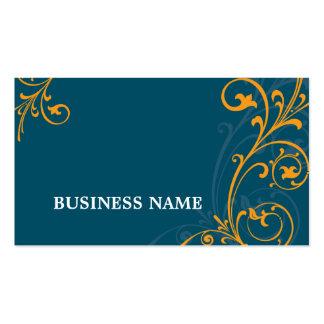 Laranja azul escuro do flourish elegante do CARTÃO Cartão De Visita
