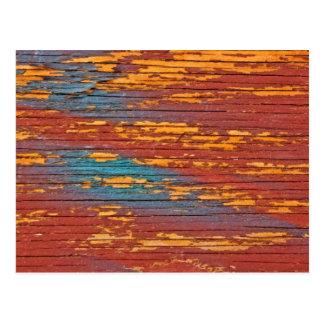 Laranja, azul & vermelho pintado de madeira cartão postal