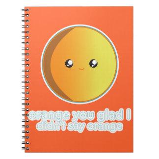 Laranja bonito caderno