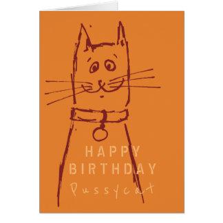 Laranja bonito do cartão de aniversário do gato