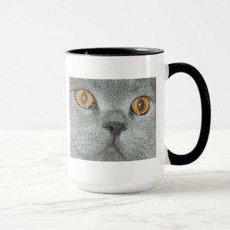 Laranja bonito gatinho Eyed Caneca