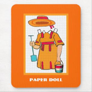 Laranja bonito Mousepad da boneca do papel da