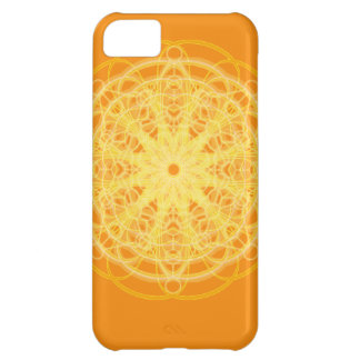 Laranja brilhante da geometria sagrado da mandala capa para iPhone 5C