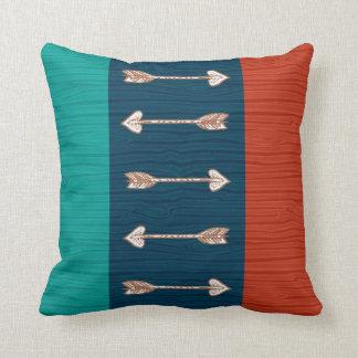 Laranja, cerceta e travesseiro azul da seta