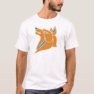 Laranja com cabeça contínua azul do lobo t-shirt