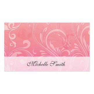 Laranja cor-de-rosa elegante floral gravado cartão de visita