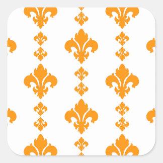 Laranja da flor de lis 3 adesivos quadrados