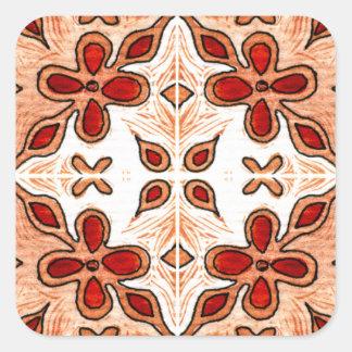 Laranja da flor inspirada pelo português Azulejos Adesivo Quadrado