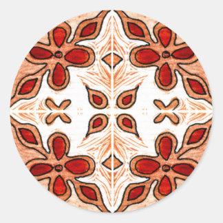 Laranja da flor inspirada pelo português Azulejos Adesivo Em Formato Redondo