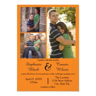 Laranja de 3 fotos - convite do casamento
