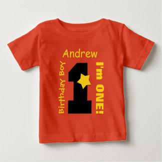 LARANJA do menino do primeiro aniversario um nome T-shirts