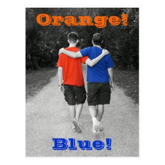 laranja e azul cartão postal