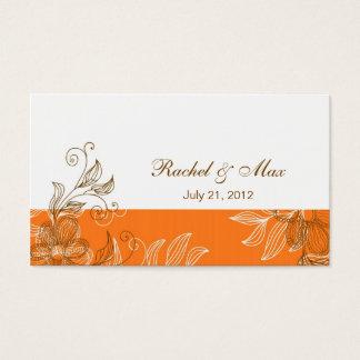 Laranja e cartão de visita elegante do casamento