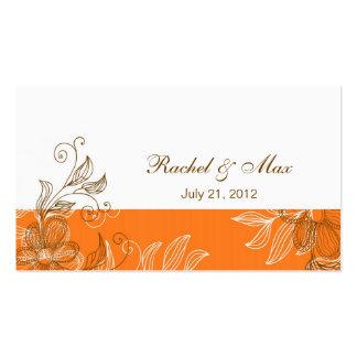 Laranja e cartão de visita elegante do casamento d